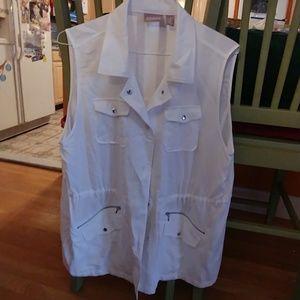 Brand new Chico's white sleeveless jacket